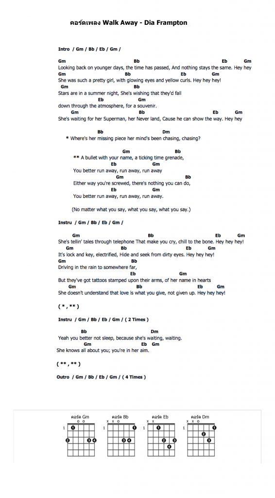 คอร์ดเพลง Walk Away - Dia Frampton